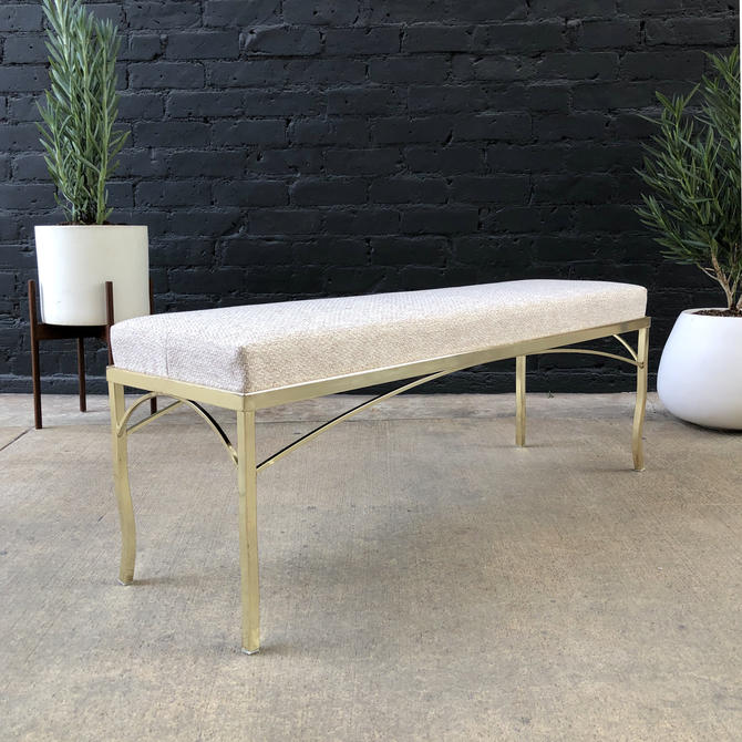 Mid-Century Modern Brass Bench with New Tweed Upholstery by VintageSupplyLA