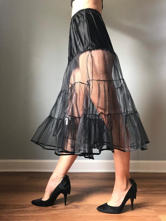 Vintage Black Midi Crinoline Petticoat by SpeakVintageDC