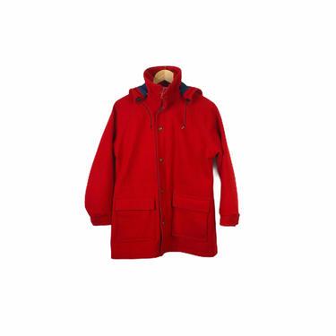 Vintage Red Woolrich Wool Coat with Hood, Size 40 by Northforkvintageshop