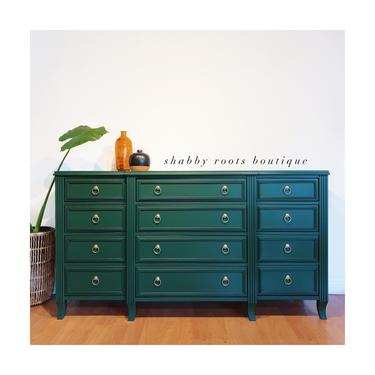 NEW! Gorgeous Emerald Green Dresser extra large 12 drawer dresser chest of drawers - San Francisco CA by ShabbyRootsBoutique
