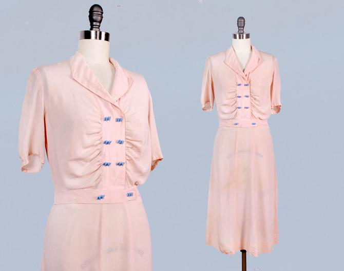 1930s Dress / Late 30s - Early 40s Day Dress / Pink Semi Sheer Silk Dress / Blue Bow Buttons by GuermantesVintage