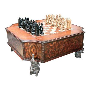African Inspired Leather & Bronze Chess Table.