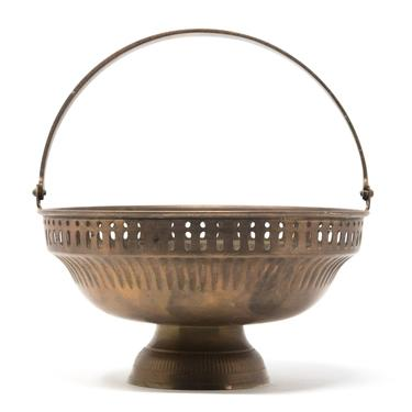 Vintage Brass Basket with Handle, Brass Bowl by GreenSpruceDesigns