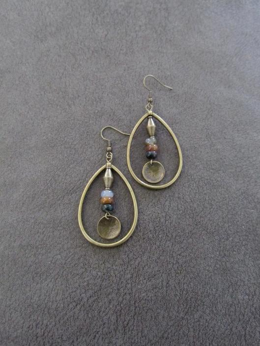 Jasper earrings, bronze hoop earrings, bohemian earrings, rustic boho earrings, artisan ethnic earrings, tear drop hoop earrings by Afrocasian