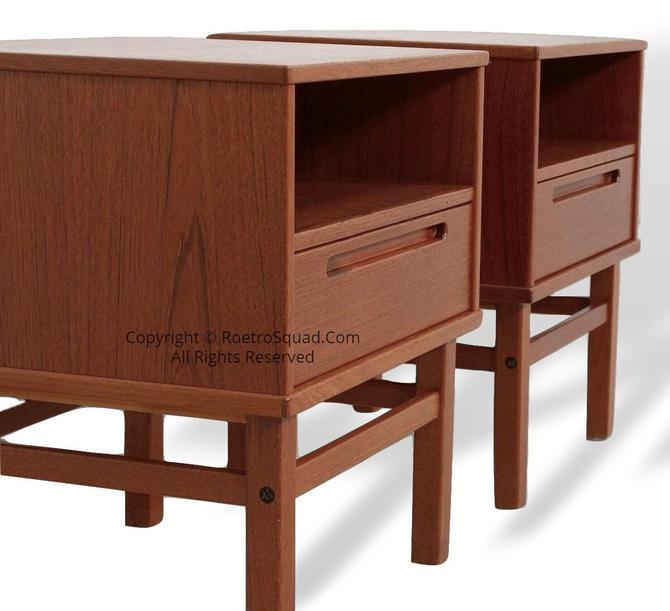 Pair (2) of Vintage Danish Modern Teak Nightstands / End Tables Designed By Nils Jonsson For HJN Mobler of Denmark, Bedroom Eames MCM Knoll by RetroSquad