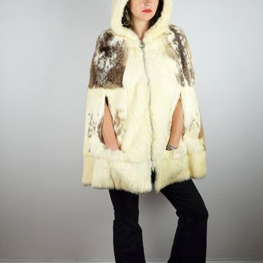 Vintage 70s 80s Fur Hoodie Jacket / 1970s Fur Poncho / Jacket Coat Brown White Hollywood Glam Studio 54 Disco 1970s 1980s Medium Small Large by ErraticStaticVintage