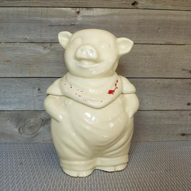 SHAWNEE Smiling Pig Cookie Jar, Kitchen Canister, Jar, Pottery, White, Vintage, Mid Century, Pottery, No Paint, Red Hankerchief Bandana, USA by TripodVintage