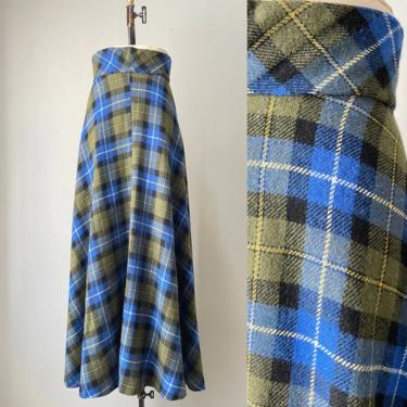 1970s Maxi Skirt Wool Plaid Long S by dejavintageboutique