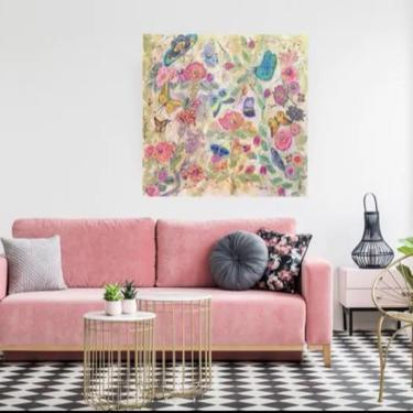 Butterflies Floral Nature Canvas Art ~ Garden Roses ~ Floral Butterflies Wall Art ~ Bohemian Floral Art ~ Boho Chic ~ Bright Floral Art by DareToBeVintage