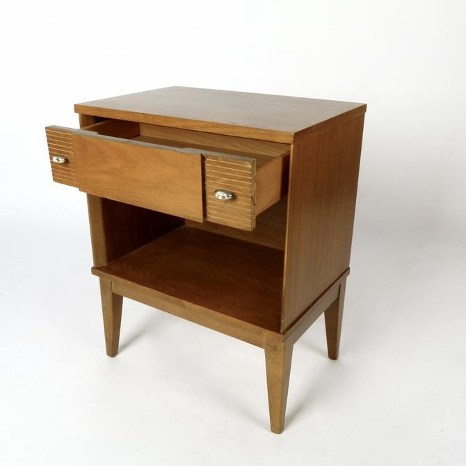 One Drawer Bleached Walnut Nightstand