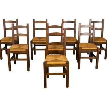 Antique Set of 8 Country French Farmhouse Ladder Back Beech Dining Chairs by StandOutSpaces