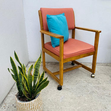 Rolling Blush Pink 1980s Chair