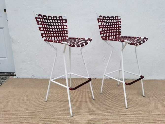 Vintage Italian  Red Vinyl  Strap  Bar Stools A Pair. by MIAMIVINTAGEDECOR