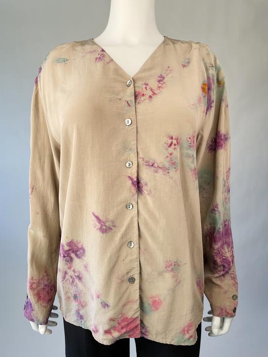 Silk Button Up Tie Dye Top
