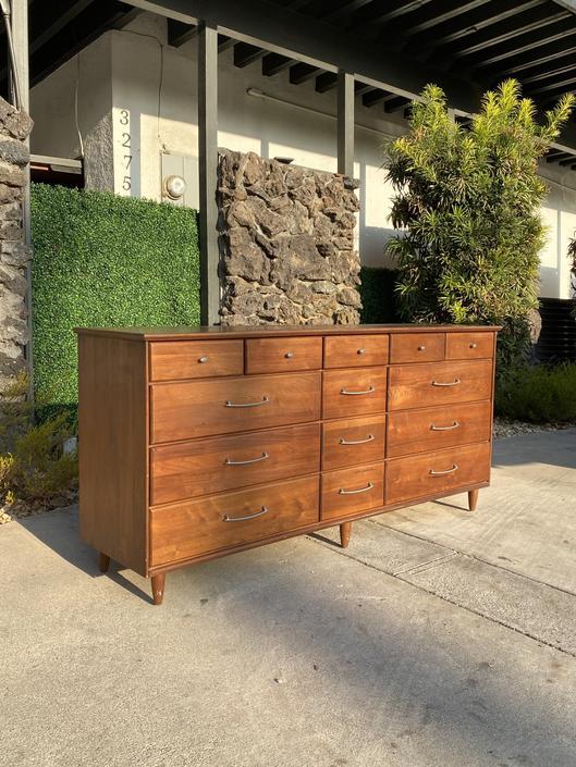 1960's Solid Walnut Fourteen-Drawer Dresser