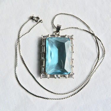 Art Deco Style Large Blue Topaz Aquamarine Glass Emerald Cut Pendant Necklace Sterling Silver Chain by seekcollect