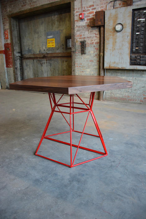Modern Hexagon Dining Table with Extension Top in Walnut and Steel by PWHFurniture