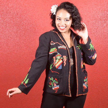 1950s Mexican Embroidered Tourist Jacket Black Lined by THEGIRLCANTHELPITUSA