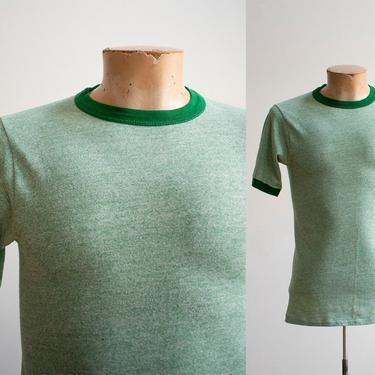 1970s Blank Ringer Tshirt / Vintage Green Ringer Tshirt / 1970s Ringer Tee Medium / Mens Medium / Heather Green Tshirt / Vintage 70s Ringer by milkandice