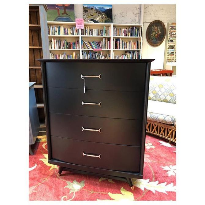 """Black painted mid-century modern tall chest 36"""" w x 19"""" d x 44"""""""