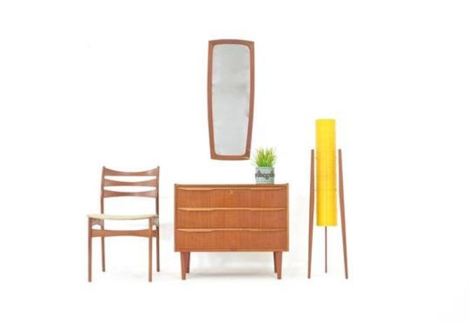 Mid Century Mirror And Side Table Set Danish by SputnikFurnitureLLC