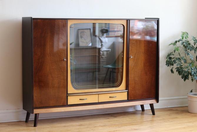 Mid Century Modern German Glass Display Liquor Cabinet by SharkGravy