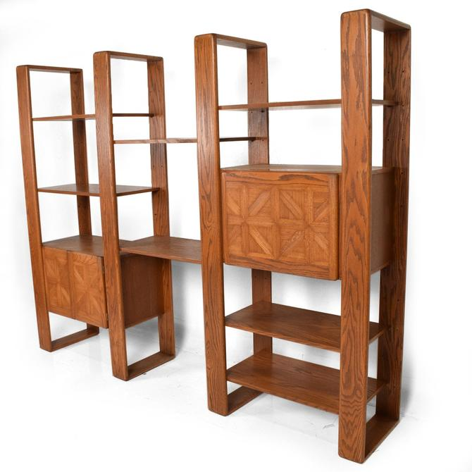 Mid Century Modern Solid Oak Wood Wall Unit by Lou Hodges by AMBIANIC