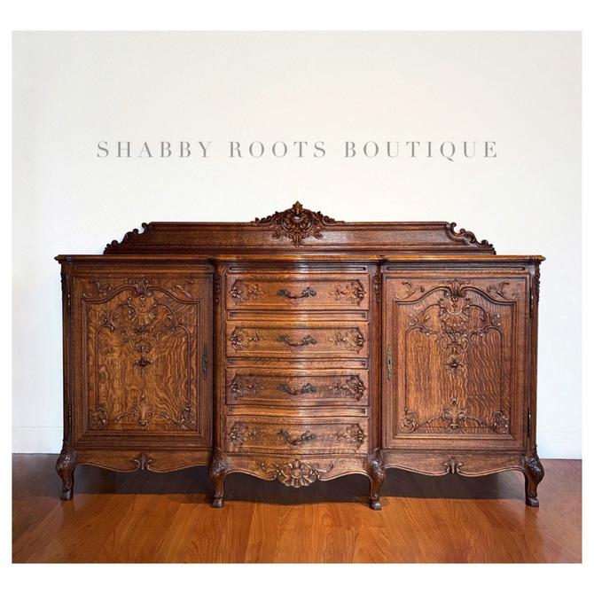 NEW! Exquisite French Louis XV Rococo Antique Oak Buffet Cabinet sideboard - Extra Large Normandy France Display tiger oak by ShabbyRootsBoutique