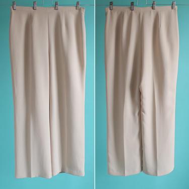 Beige High Waist Flat Front Pants L/XL 1980's by BeggarsBanquet