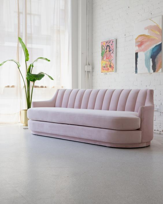 Elisabeth Pink Velvet Sofa