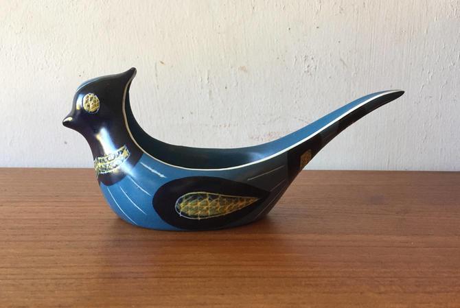 Jie Gantofta Mid Century Modern Swedish Pottery Bird Bowl Designed by Anita Nylund by ModandOzzie