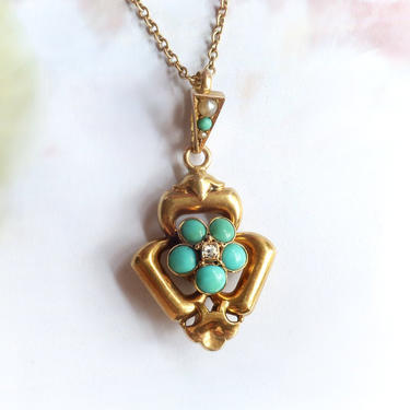 Antique Turquoise Diamond Pearl Locket Victorian 1870's Old Mine Cut Diamond Floral Motif Pendant Necklace Mourning Jewelry 18k Yellow Gold by YourJewelryFinder
