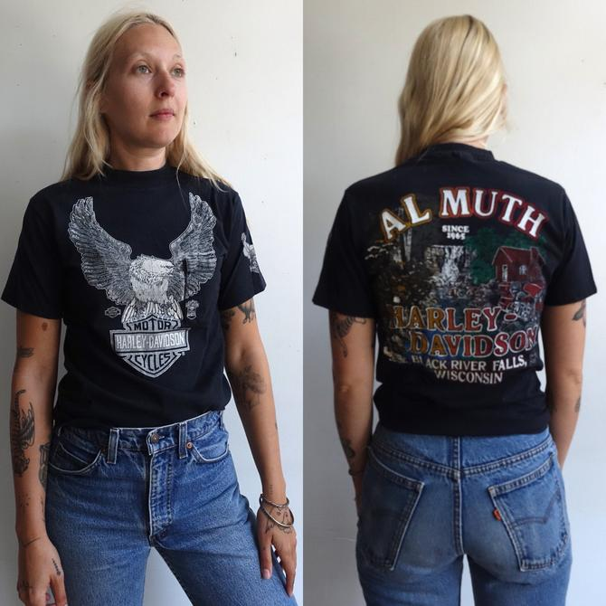 Vintage 80s Harley Davidson Pocket T Shirt/ 1980s Al Muth Wisconsin Motorcycle Eagle/Worn In For Bikers Only/ Single Stitch/ Beefy T/ Size M by bottleofbread