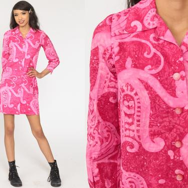 70s Mini Dress Pink Abstract Psychedelic 60s Shift Mod Shirtdress Button Up Long Sleeve Vintage 1970s Twiggy Sixties Extra Small xs by ShopExile