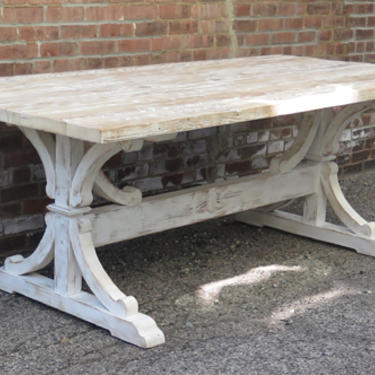 Rustic Reclaimed Pine Table with Scrolled Base in a  White Distressed Paint and Lime Wax Finish.