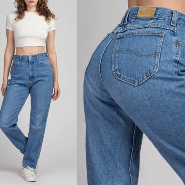 "90s High Waist Lee Rider Jeans - Medium, 28"" | Vintage Denim Pants Medium Wash Mom Jeans by FlyingAppleVintage"