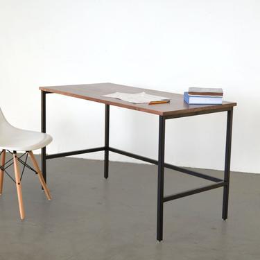 The Samwel Desk - Walnut with black powder coated steel by HerbsFurniture