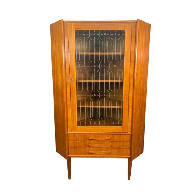 Vintage Danish Mid Century Modern Teak and Glass Corner Cabinet by AymerickModern