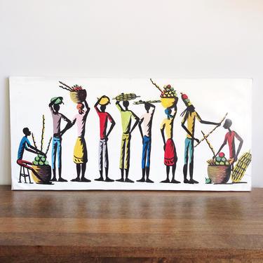 Vintage African Market Oil Painting by TheDistilleryVintage