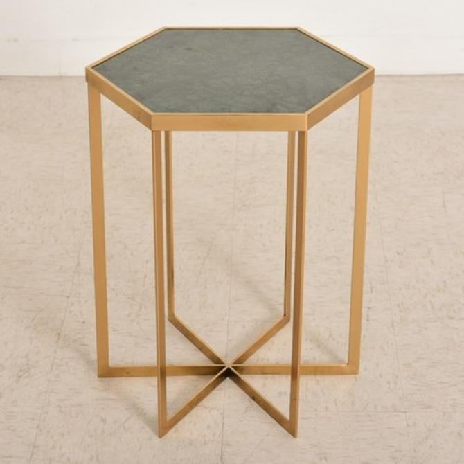 Green and Gold Hexagon Side Table