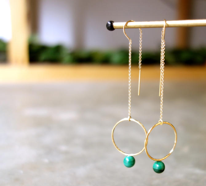 Malachite Gold Orb Ear Threads Geometric Circle Ear threads by RachelPfefferDesigns