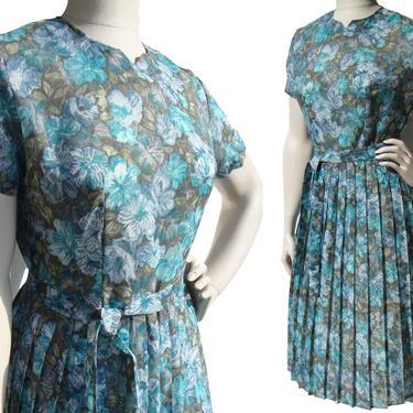 Vintage 60s Day Dress Blue Floral Print Deadstock M by MetroRetroVintage