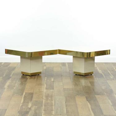 Pair Of 1980'S Art Deco Revival End Tables W Gold Trim