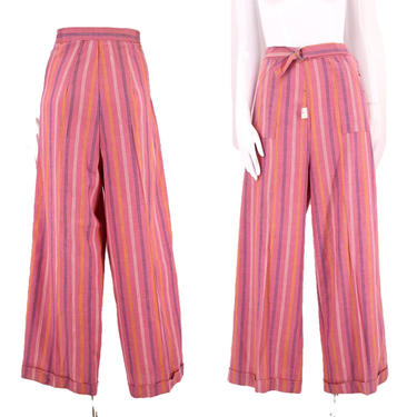 """40s womens vintage pants 32"""" / vintage 1940s pink pinstripe pin up trousers rare large 12 30s by ritualvintage"""