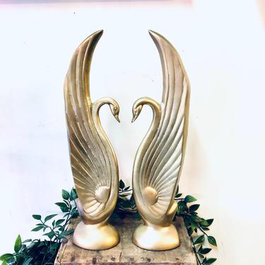 Vintage Brass Swans, Brass Birds, Vintage Home Decor, Mantle Piece, Brass Swans, Brass Decor, Unique Home Decor, Swans, Gold Toned Birds by shopGoodsVintage