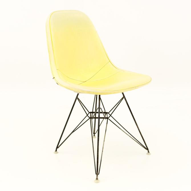 Early Charles and Ray Eames for Herman Miller Mid Century Modern Eiffel Base Wire Dining or Desk Chair with Yellow Pads - Set of 4 - mcm by ModernHill