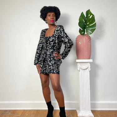 Vintage 3-Piece Brocade Skirt Set 1980s 1990s 90s Black & Silver Embroidery Skirt Set Button Down Medium Silk Satin Petite Skirt Medium by KeepersVintage