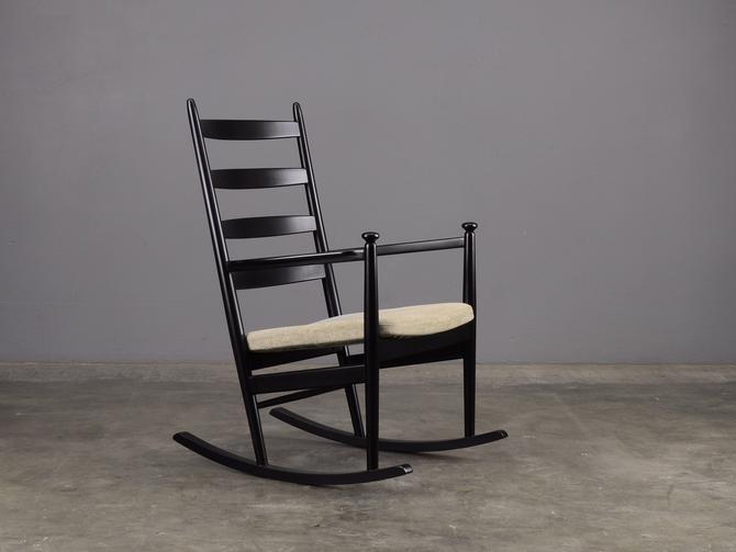 Danish Modern Rocking Chair Eilersen Black with Custom Upholstery by MadsenModern
