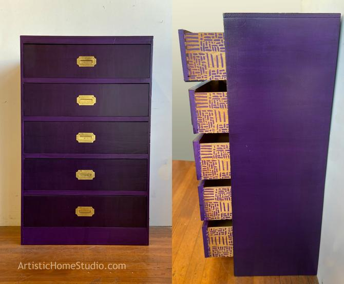 Purple Campaign Style 5-drawer Tallboy Dresser