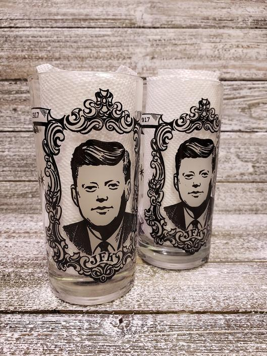 Vintage JFK Inaugural Glasses, President John F Kennedy Glassware, Amtsfield Presidential Drinking Glasses, Political Historical Memorabilia by AGoGoVintage